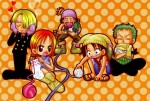 One Piece Ruffy Nami Lorenor Zorro Sanji Lysop Stricken Wolle Chibi
